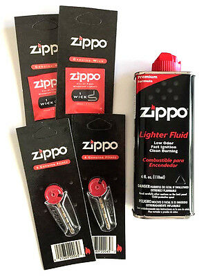Zippo Lighter Combo Pack 4oz 2 wicks 12 flints deal with Free shipping