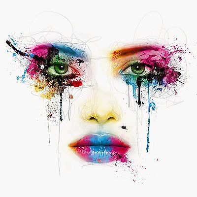 Face Eyes Nose Lips Colourful Abstract WALL ART CANVAS FRAMED OR POSTER PRINT