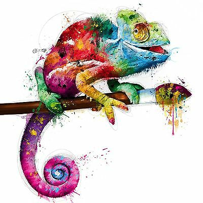 Lizard Sits On Brush Colourful Abstract WALL ART CANVAS FRAMED OR POSTER PRINT