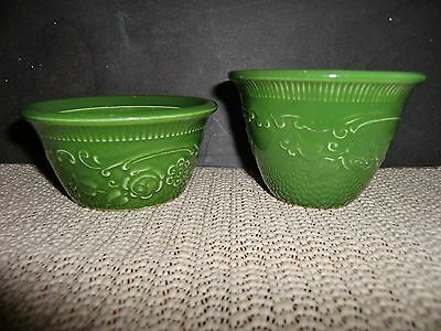 2 Vintage Oven Serve Ware Embossed Flowers Green Custard Cups, 1 Marked T.s.t.