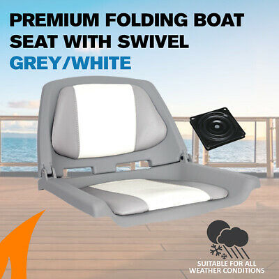 Premium Folding Boat Seat Marine All Weather Grey/White With Swivel