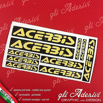 Kit 10 Adesivi Sponsor Tecnici ACERBIS Auto Moto Cross Black e Yellow