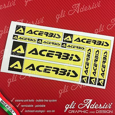 Set 10 Adesivi Sponsor Tecnici ACERBIS Auto Moto Cross Yellow e Black