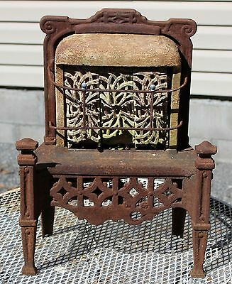 Vintage Antique Gas Space Heater Ornate Cast Iron Architectural Salvage Cahill