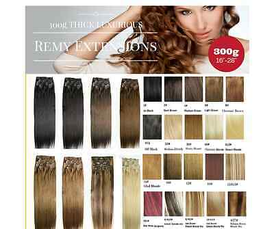 """300G Thick 12pc set hair extensions 24""""-32"""" REMY HUMAN HAIR"""