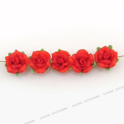 20x Hot Green Leaf Red Flower Fimo Polymer Clay Spacer Beads Fit DIY Carfts D