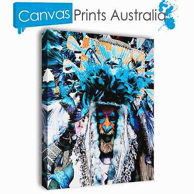 Indian America Stretched Canvas Prints Art Abstract Plume Different Sizes Blue