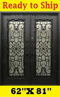 Wrought Iron Front Entry Doors With Tempered Glass 62''x81'' Dgd1067