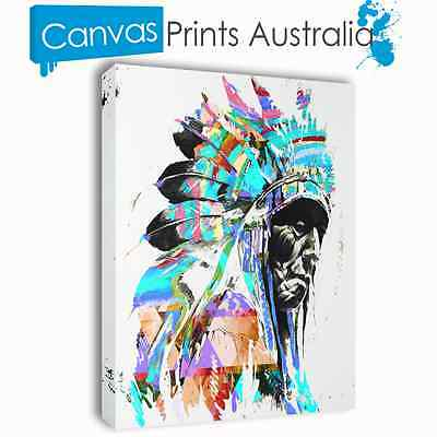 Indian America Stretched Canvas Prints Art Abstract Bonnet Different Sizes Blue