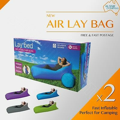2 X Air Lay Bed Laybag Camping Fast Inflatable Lounge Boat Sleep Bag Sofa Hiking