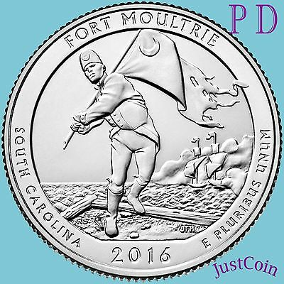 2016 P&d Fort Moultrie Sumter National Monument Two Quarters Set Uncirculated