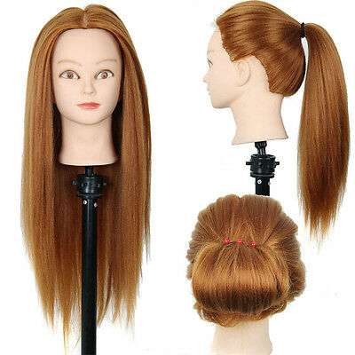 Real Hair Training Practice Head Mannequin Doll Hairdressing & Clamp
