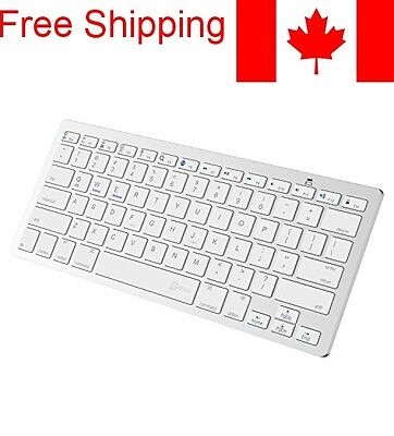Bluetooth Wireless Keyboard for iPhone, iPad, Android Etc - White - Compact