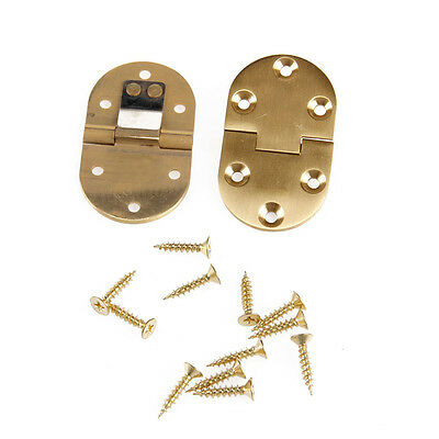 2Pcs Solid Brass Butler Tray Hinge Round Folding Edge xFlaps With 12 Screws