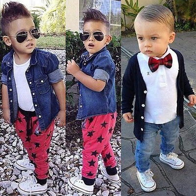 3PCS Kids Baby Boy Shirt Tops+Jeans/Casual Pants+Coat Outwear Clothes Outfits UK