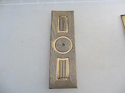 Vintage Brass Finger Plate Push Door Handle Architectural Antique Reeded Old