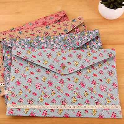 1X Office Book Holder Organizer Floral A4 File Folder Document Bag Pouch Case RF