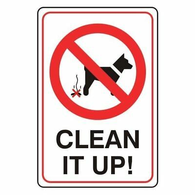 clean it up dog poo warning caution sign self adhesive sticker