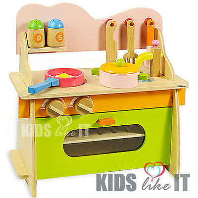 NEW KIDS Pink Green WOODEN Pretend Play Toy KITCHEN / Cooker Accessory SET GIFT