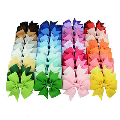 Bow Hair Clip Ribbon Alligator Clips for Girls  Kids Sides Accessories 40PCS/Lot