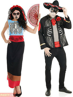 Mens Ladies Day of the Dead Costume Halloween Skeleton Fancy Dress Couples
