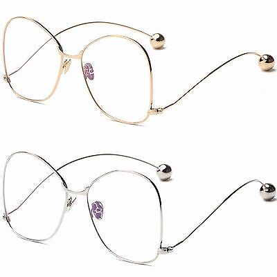 Womens Quality Oversized Large Frame Clear lens Butterfly Metal Frame Glasses