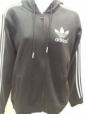 Adidas Linear Fleece WOMEN'S Black Full Zip Sweatshirt Jacket HOODY UK SIZE
