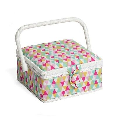 Geometric Shapes Triangles Classic Small Square Sewing Basket Craft Hobby