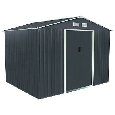 Charles Bentley Dark Grey 6ft x 9ft Metal Steel Garden Shed Outdoor Storage