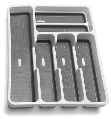 Drawer Organiser 6 Compartment Cutlery Storage Plastic Caddy Large New Addis