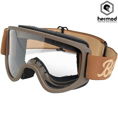 Biltwell Moto 2 Motorcycle Vintage Retro Cafe Racer Riding Goggles - Chocolate