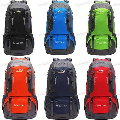 60L Waterproof Outdoor Camping Travel Extra Large Backpack Climbing Rucksack Bag