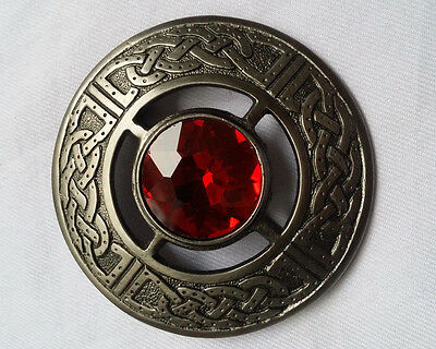Scottish Kilt Fly Plaid Brooch Red Stone Brushed Silver Antique/Celtic  Brooches