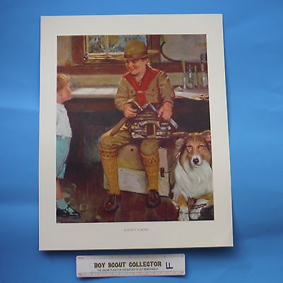 """Boy Scout Norman Rockwell Print A Scout Is Kind 11""""x14"""""""