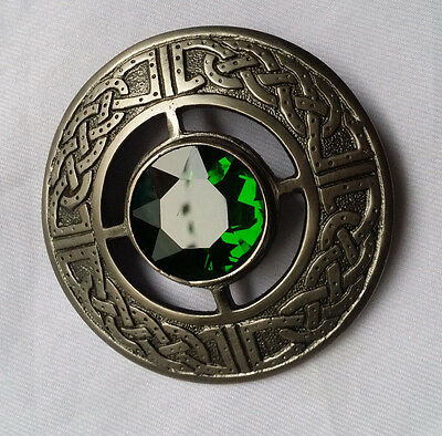 "Men's Celtic Kilt Fly Plaid Brooch Green Stone Silver Antique 3""/Scottish Brooch"