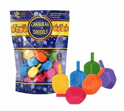 Zion Judaica 30 ct Medium Plastic 6 colors Hanukkah Dreidels - Holiday Sale Deal