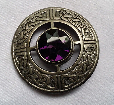 "New Men's Kilt Fly Plaid Brooch Purple Stone Antique Finish 3""/Scottish Brooches"