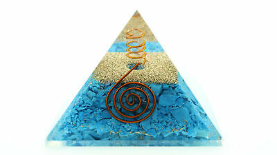 "Natural Turquoise Orgone Pyramid + Point 70mm LG 2.75"" Orgonite EMF Protection"