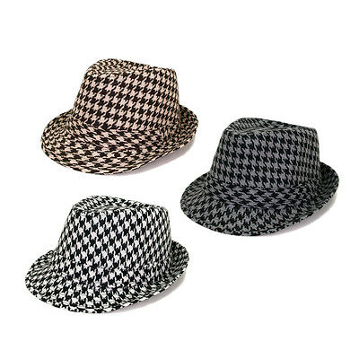 Unisex Classic Houndstooth Fedora Hat - Different Colors Available