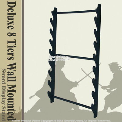 Deluxe 8 Tiers Wall Mounted Samurai Katana Sword Display Stand