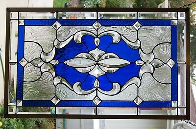"""Stained Glass window hanging 19 X 31"""" POLISHED BRASS FRAME"""