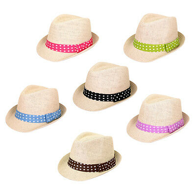 071d24afaf8e7 Women s Polka Dot Band Natural Fedora Straw Hat - Different Color Band Avail