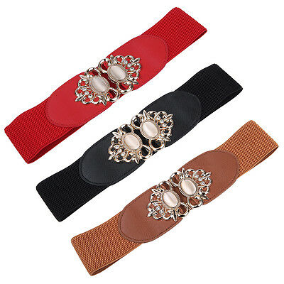 Premium Medallion Rhinestones Buckle Wide Elastic Stretch Waist Belt Waistband