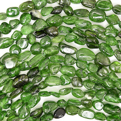 """7-10mm Russian green chrome diopside nugget beads 16"""" strand"""