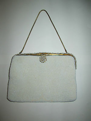 Birks White Gold Micro Bead Made in France Evening Bag Purse True Vintage WOW!