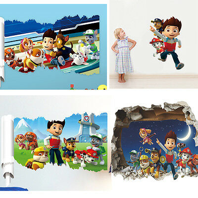 Paw Patrol Dog Cartoon Scroll Wall Sticker Vinyl Art Decal Kids Room Mural Decor