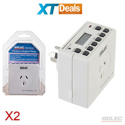x2 ARLEC Digital Timer Switch 240V Power Saver - Programmable Powerpoint 2 pcs