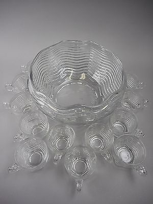 Duncan & Miller CARIBBEAN Clear Round Punch Bowl with 13 Punch Cups
