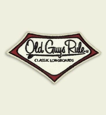 """Old Guys Rule  """" Classic Longboards  2"""" X 4"""" Embroidered Fabric Patches"""