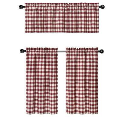 Wine Red & White Country Checkered Plaid Kitchen Tier Curtain Valance Set